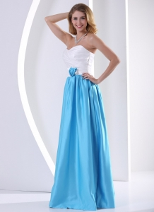 White and Aqua Blue Taffeta Prom Dress with Hand Made Flower