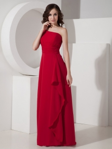 Empire Prom Dress Wine Red One Shoulder Chiffon Floor-length