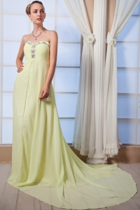 Yellow Green Empire Beading Brush Train Chiffon Prom Dress