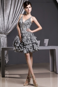 V-neck Mini-length A-line Zebra Prom Dress With Straps