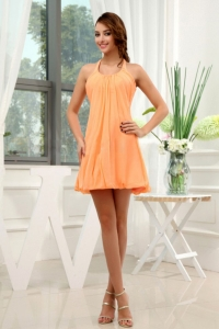 Halter Chiffon Mini-length Homecoming Prom Dress Orange