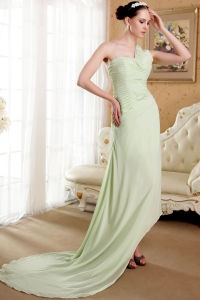 One Shoulder Brush Train Chiffon Ruch Prom Dress Apple Green