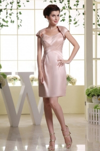 Baby Pink Prom Dress Spaghetti Straps and Ruch Mini-length
