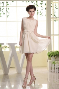 Champagne Prom Dress Mini-length Ruched Bodice with a Belt
