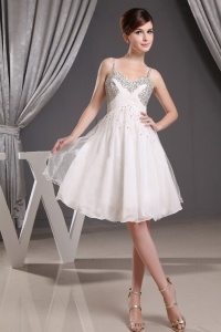 Beaded Straps and Bust Prom Dress White Mini-Length