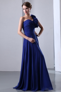 One Shoulder Floor-length Prom Dress Hand Made Flowers Blue