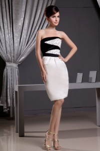 Beading Knee-length Taffeta Prom Dress Black and White