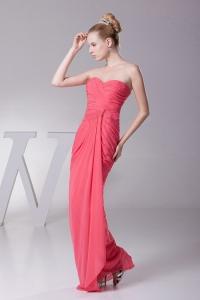 Strapless Coral Red Prom Dres Chiffon Ruched Bodice Sweetheart