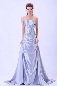 Custom Made Prom Dress Silver A-Line Ruched Brush Train