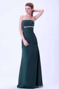 Dark Green Prom Dress Appliques and Ruching Chiffon