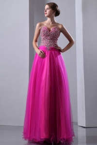 Sweetheart Floor-length Fuchsia Prom Dress Beading