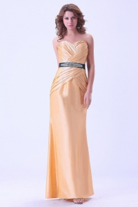 Prom Dress with Belt and Ruching Floor-length Gold 2013