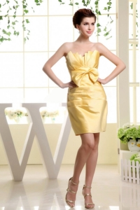 Gold and Bow Prom Dress Strapless and Mini-length 2014