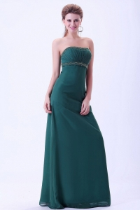 Green Evening Dress with Beading and Ruching Chiffon