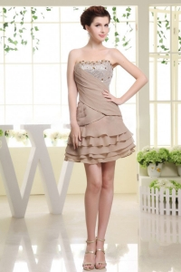 Grey Prom Dress with Beading and Ruffled Layers 2013