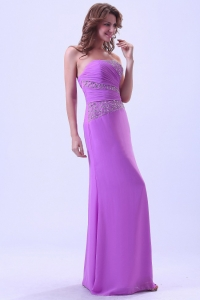 Lavender Prom Dress With Beaded Chiffon Floor-Length