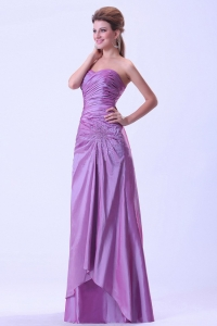 Lavender Prom Dress Beaded and Ruched Sweetheart Floor-length