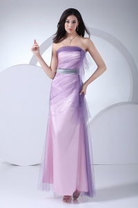 Lavender Ankle-length Strapless 2013 Prom Dress Sash