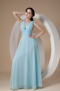 V-neck Floor-length Chiffon Ruch Prom Dress Light Blue