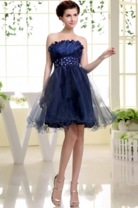 Navy Blue Prom Cocktail Dress Beading Mini--Length 2014
