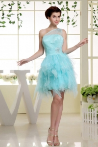 One Shoulder Baby Blue and Beading For Prom Dress Ruffles