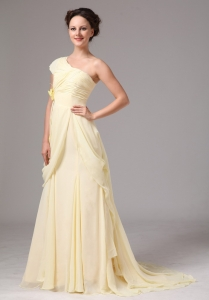 One Shoulder Hand Made Flower Yellow Prom Dress Brush Train