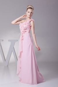 One Shoulder Hand Made Flowers Baby Pink Prom Dress