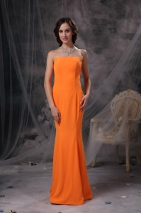 Mermaid Strapless Floor-length Satin Prom Dress Orange