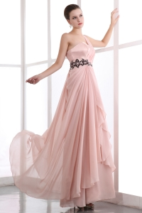 Pink One Shoulder Floor-length Chiffon Appliques Prom Dress
