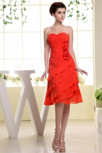 Red Bridesmaid Dress Hand Made Flowers and Ruffles 2014