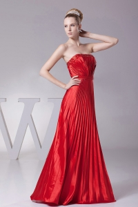 Red Pleat Over Skirt Custom Made Prom Dress Strapless 2013