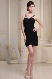 Scoop Prom Dress with Ruched Over Skirt and Mini-length
