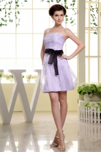 Spaghetti Straps and Sash Short Lilac Prom Dress