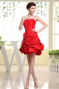 Strapless Red and Hand Made Flower Prom Dress with Pick-ups