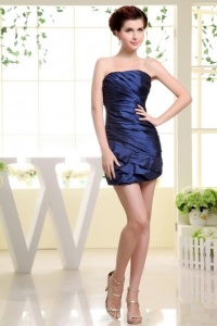 Strapless Ruched Mini-Length Prom Dress Blue 2013