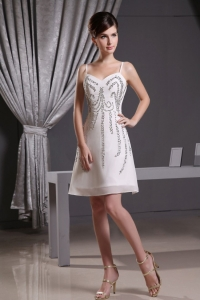 Fitted White Straps Beading Mini-length Chiffon Prom Dress