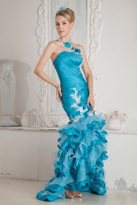 Turquoise Mermaid One Shoulder High-low Prom Dress