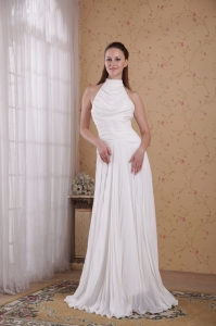 White High-neck Floor-length Chiffon Pleat Prom Dress