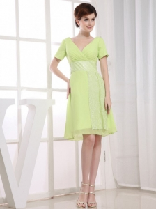 Prom Dress Chiffon Knee-length Homecoming Yellow Green