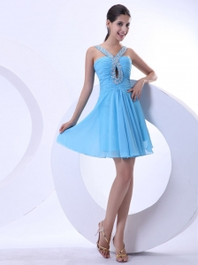 Prom Dress Aqua Blue Beaded V-neck Mini-length Chiffon