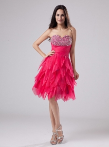 Coral Red Cocktail Dress Beaded Sweetheart Ruffles