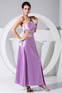 Beaded High Slit Sweetheart Ankle-length Lavender Prom Dress