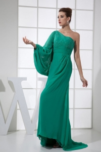 Beading One Shoulder Brush Train 2013 Prom Dress Green