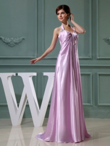 Beading Halter Floor-length Prom Dress Lavender 2014