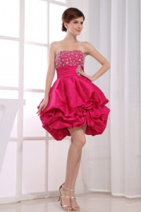 Beading Mini-length A-Line Prom Dress Strapless Hot Pink