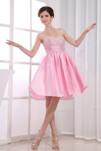 Beading Pink Prom Dress Sweetheart A-Line Knee-length