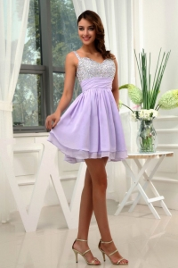 Beading Straps Lilac Prom Dress Chiffon Mini-length A-Line