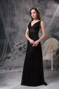 Black Prom Dress V-neck Floor-length Lace Belt and Ruch