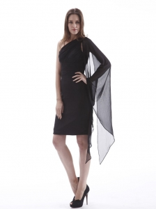 One Shoulder Black Cocktail Dress Knee-length