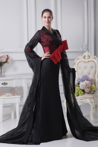 Black High Slit Brush Train 2013 Prom Dress Long Sleeves